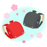 赤と黒のランドセルと桜のイラスト