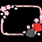赤と黒のランドセルと桜の二重線フレーム・枠イラスト