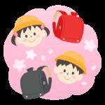 赤と黒のランドセルと小学生と桜のイラスト