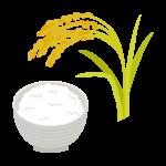 稲穂と新米のご飯のイラスト