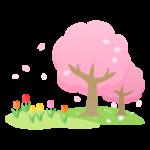 桜とチューリップが咲いている春の風景のイラスト