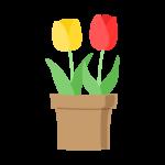鉢植えの赤と黄色のチューリップのイラスト