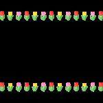 赤と黄色とピンクのチューリップの上下フレーム・枠イラスト