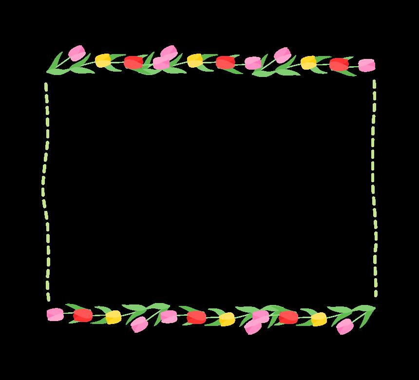 上下のチューリップと緑色の点線四角フレーム・枠イラスト
