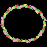 チューリップのリース風の楕円形フレーム・枠イラスト
