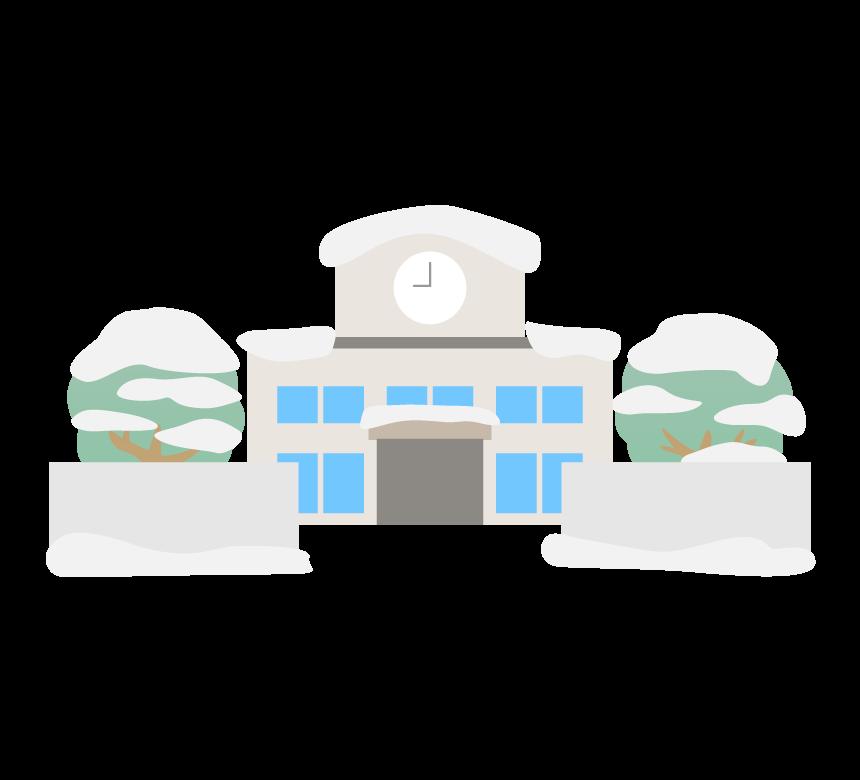 学校(冬)のイラスト