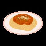 ミートソース(ボロネーゼ)スパゲティのイラスト