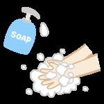 ハンドソープと手洗いのイラスト