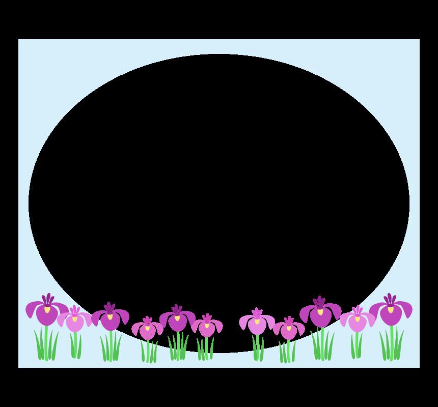 こどもの日 菖蒲の花の水色楕円フレーム・枠イラスト