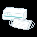 医療用プリーツマスクと箱のイラスト