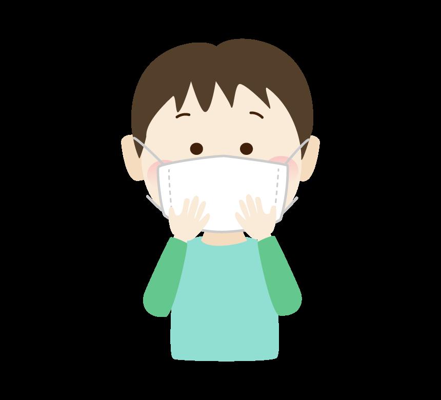 マスクを両手で抑えている男の子のイラスト