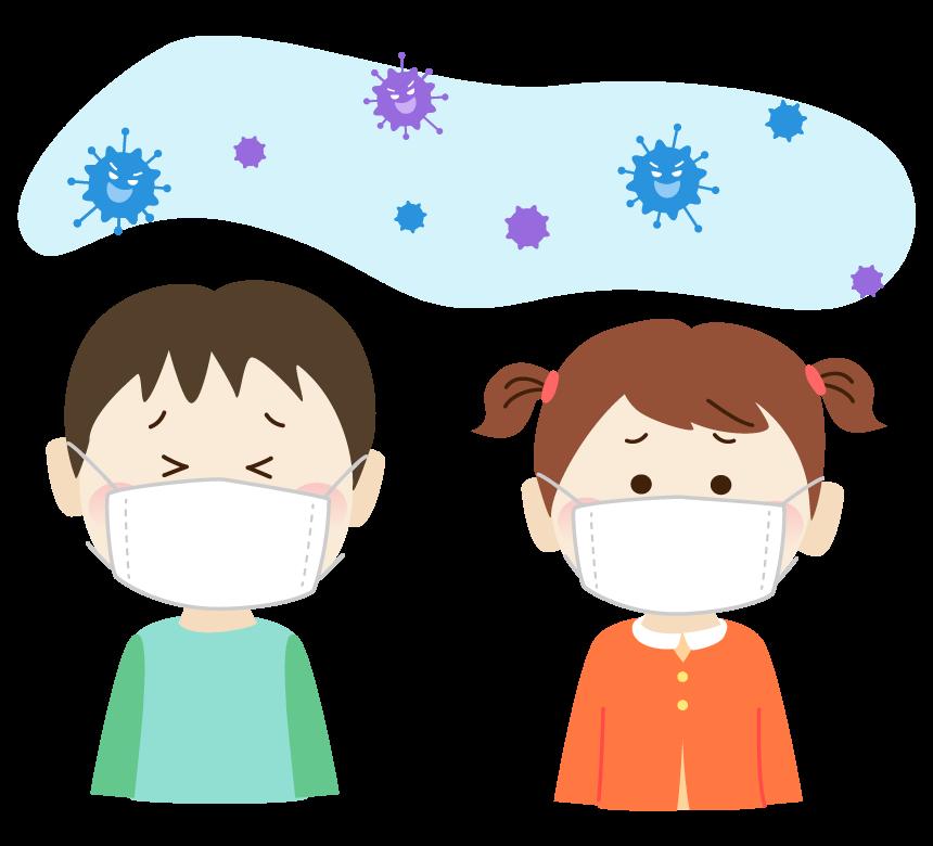 ウィルス菌とマスクをしている子供のイラスト