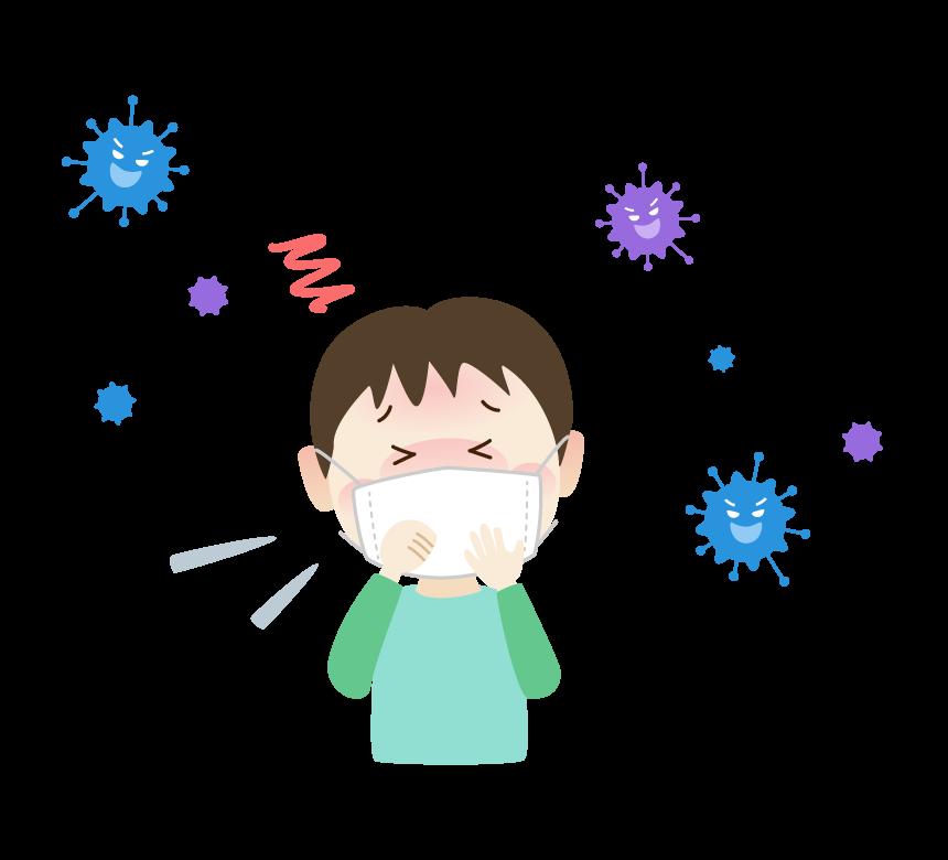 ウィルス菌と体調不良の男の子のイラスト