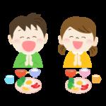 食事と「いただきます」をする子供のイラスト