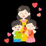 母の日・お母さんにプレゼントを渡す子供たちのイラスト