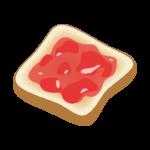 イチゴジャムのトーストのイラスト