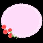 カーネーションとピンクのレース風楕円形フレーム・枠イラスト