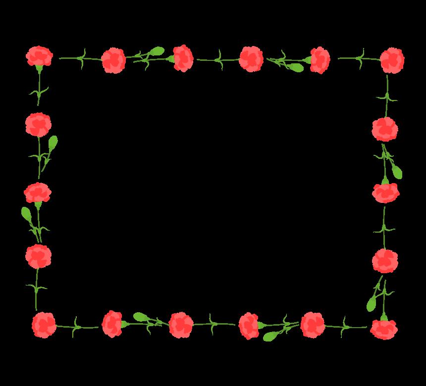 カーネーションの囲み四角フレーム・枠イラスト