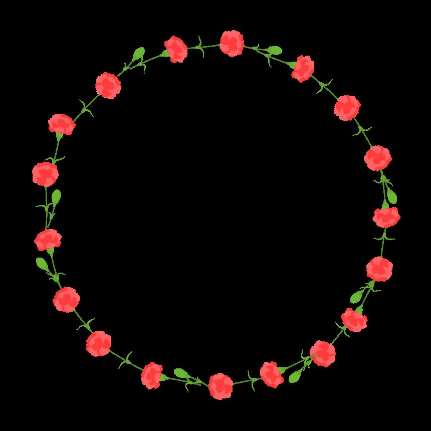 カーネーションの囲み円形フレーム・枠イラスト