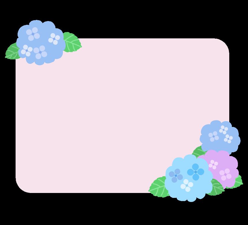 梅雨・紫陽花のピンク色フレーム・枠イラスト