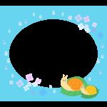 梅雨・紫陽花の花とカタツムリと雨の水色フレーム・枠イラスト
