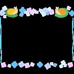 梅雨・紫陽花の花とカタツムリの水色点線フレーム・枠イラスト