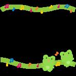 歌っているカエルと音符の上下フレーム・枠イラスト
