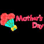 母の日・カーネーション花束と「Mother's Day」文字イラスト