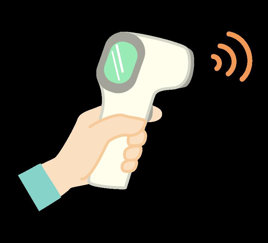 非接触型体温計を持ち検温するイラスト