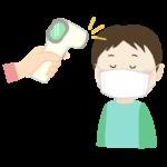 非接触型体温計で検温する男の子のイラスト