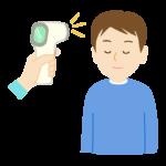 非接触型体温計で検温する男性のイラスト