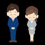 お辞儀をする会社員・店員・スタッフの男女のイラスト02