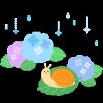 梅雨・かわいいカタツムリと雨と紫陽花のイラスト