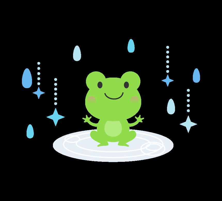 梅雨・カエルと雨のイラスト