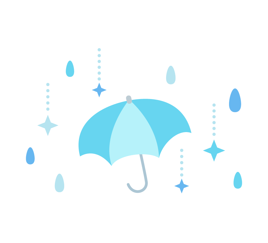 梅雨・傘と雨のイラスト