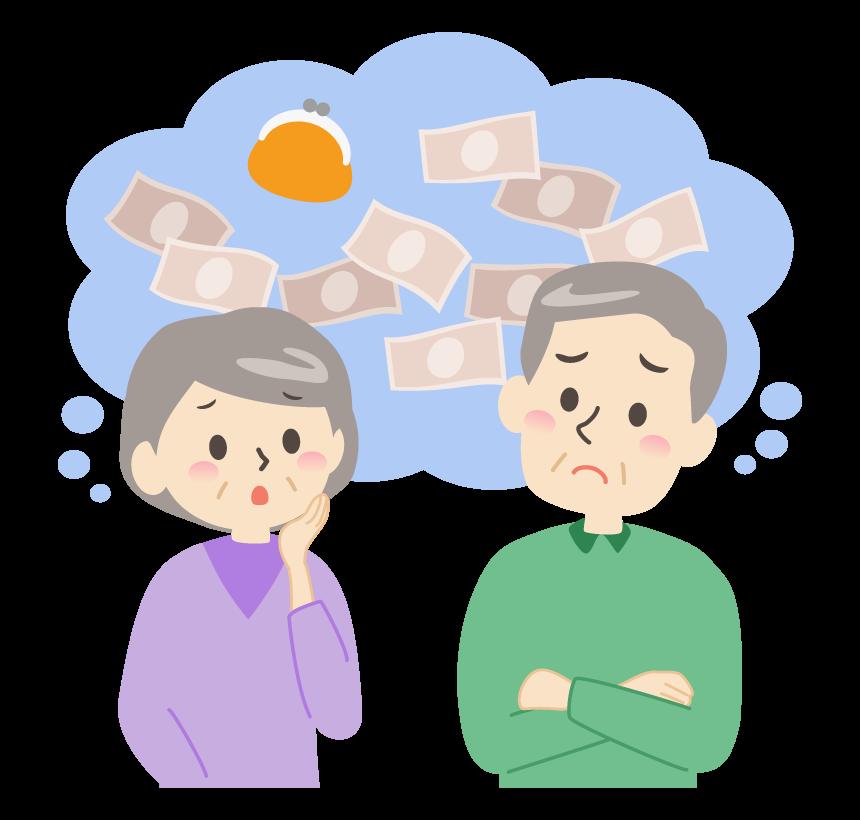 お金に悩むシニア夫婦のイラスト