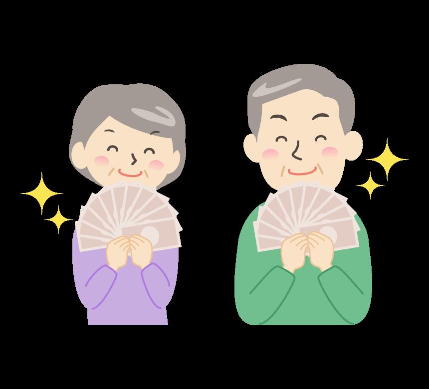 お札を手にしてニヤリ笑顔のシニア夫婦のイラスト