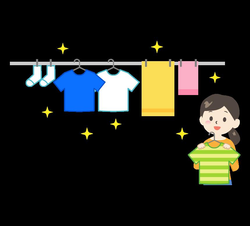 洗濯物を干す女性のイラスト