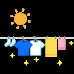晴れの日の太陽と洗濯物のイラスト