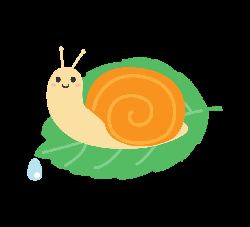 梅雨・葉っぱとカタツムリのイラスト