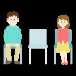 椅子の間隔をあけて離れて座っている男女のイラスト