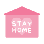 「STAY HOME」文字と家のイラスト