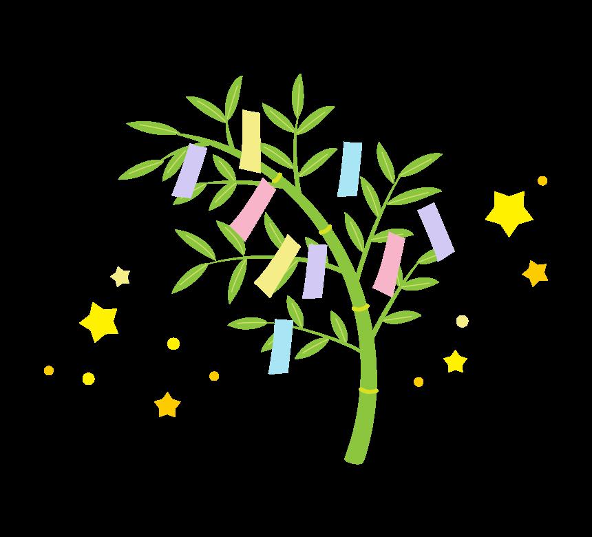 七夕・笹の葉と短冊と星のイラスト