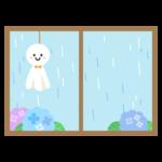 梅雨・てるてる坊主と窓のイラスト