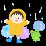 梅雨・合羽を着た男の子とカエルと紫陽花のイラスト