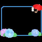 梅雨・傘と紫陽花とてるてる坊主の水色点線フレーム・枠イラスト