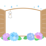 梅雨・紫陽花とてるてる坊主を下げた窓のフレーム・枠イラスト
