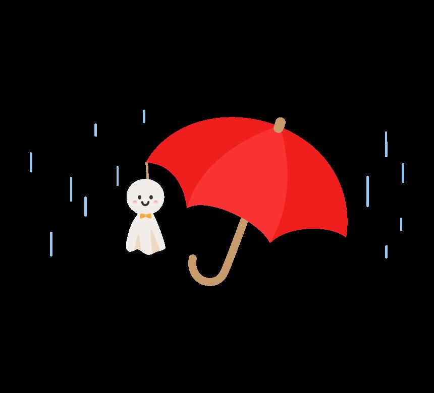 梅雨・真っ赤な傘とてるてる坊主のイラスト