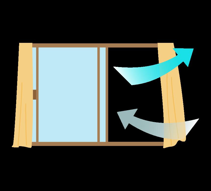 窓を開けて部屋の換気をしているイラスト