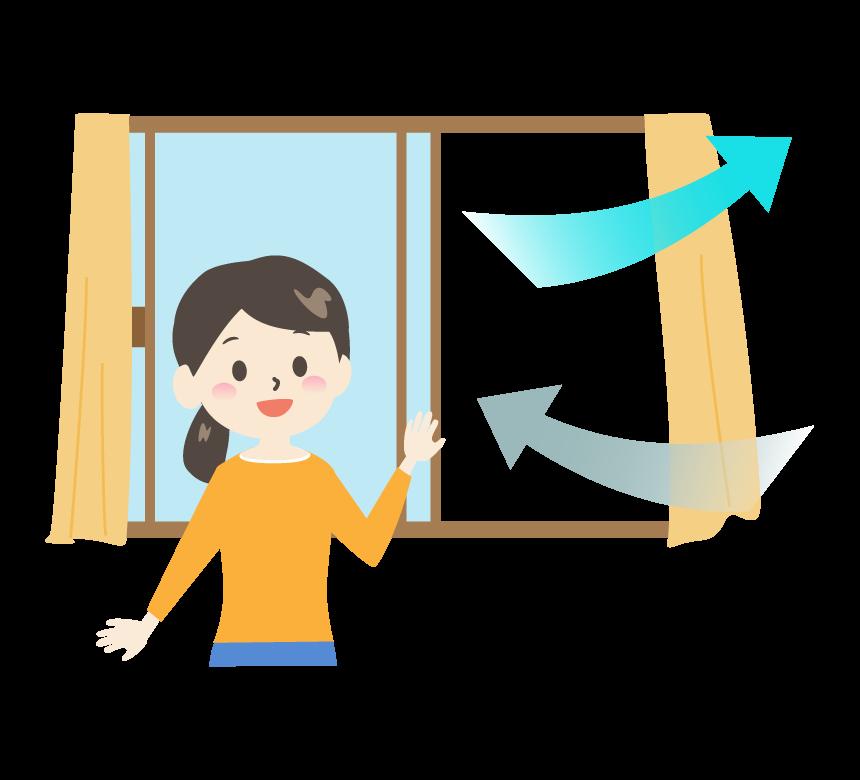 窓を開けて部屋の換気をしている女性のイラスト